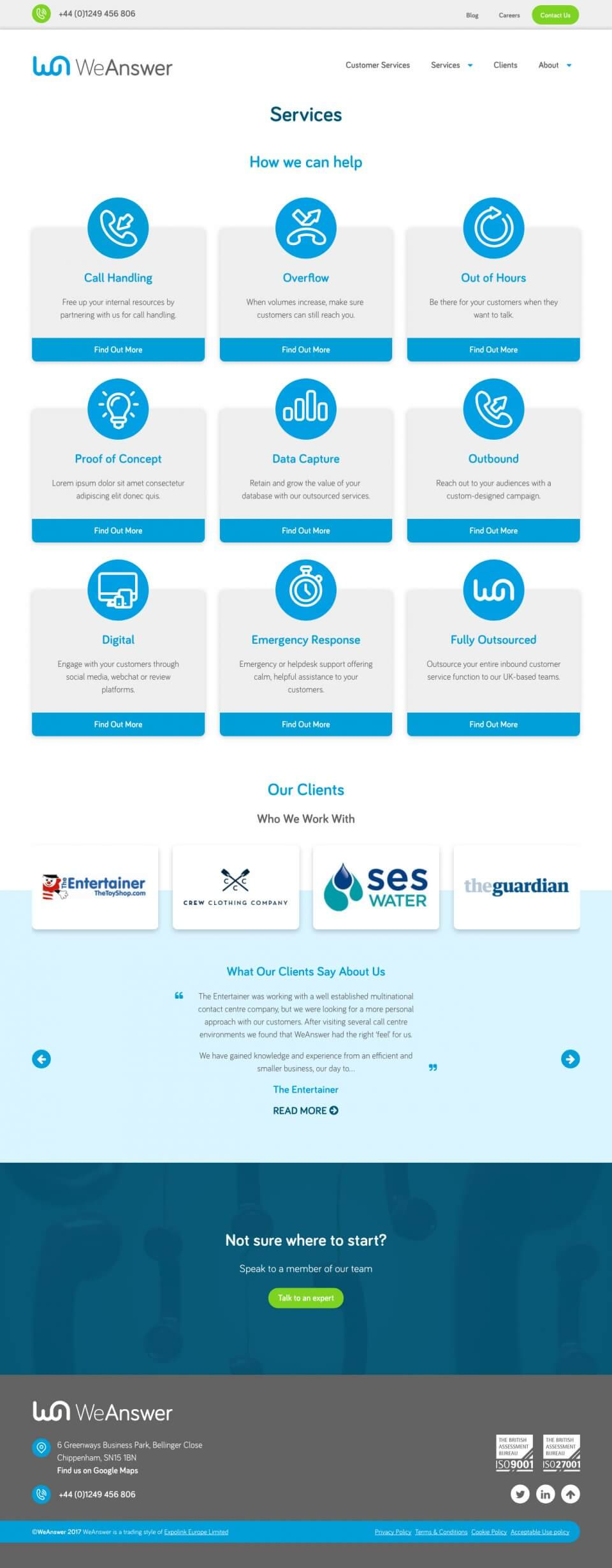 WeAnswer - Services Page