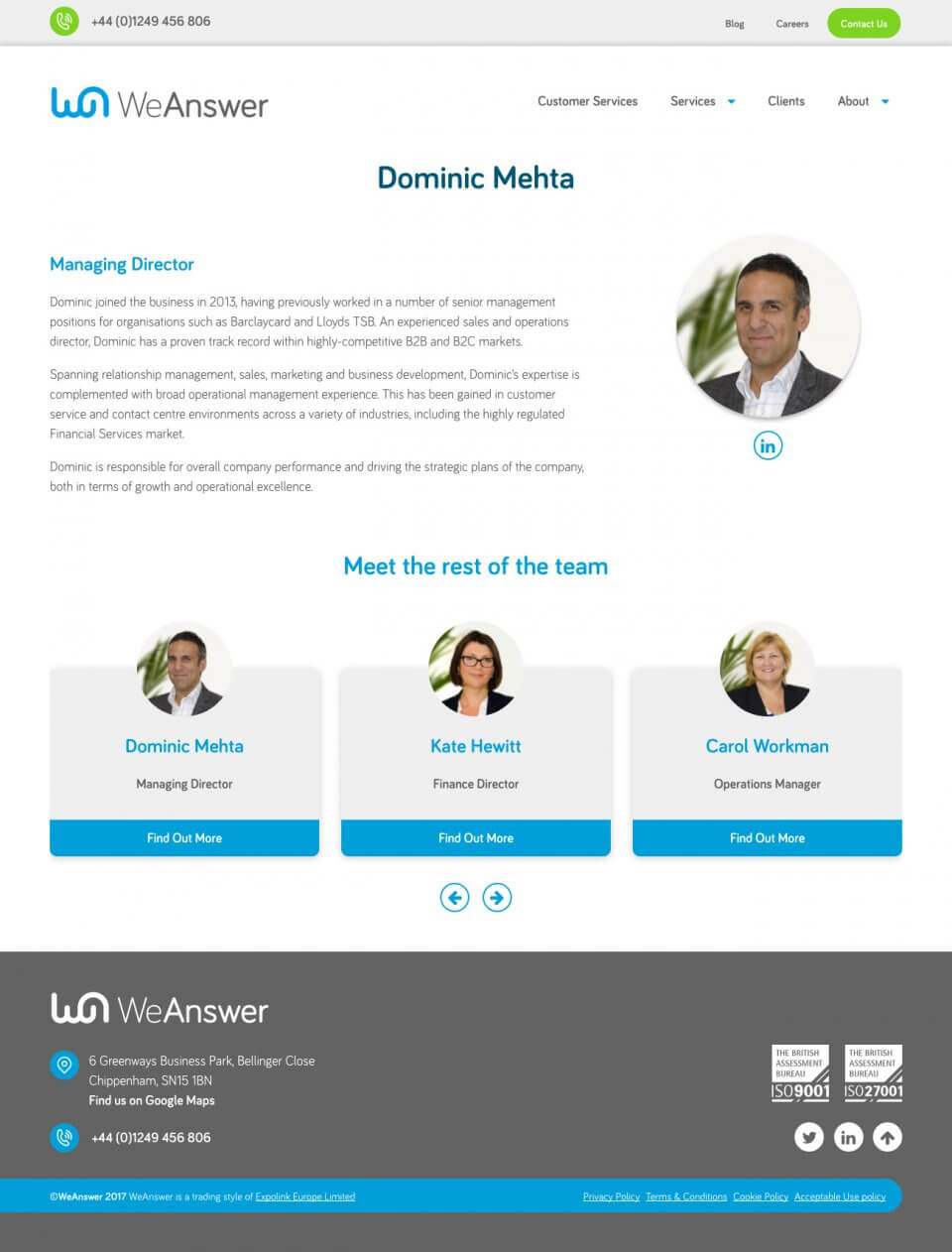 WeAnswer - Team Member Page